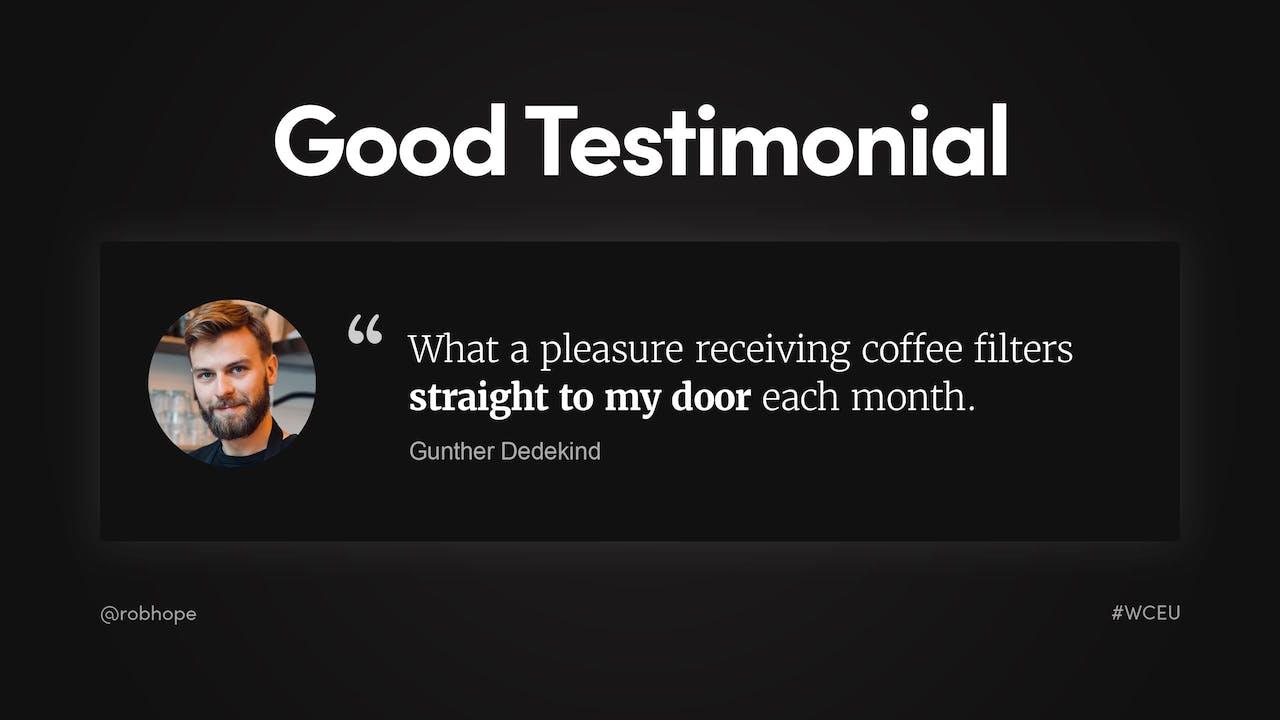 Landing Page - Good Testimonial example Screenshot