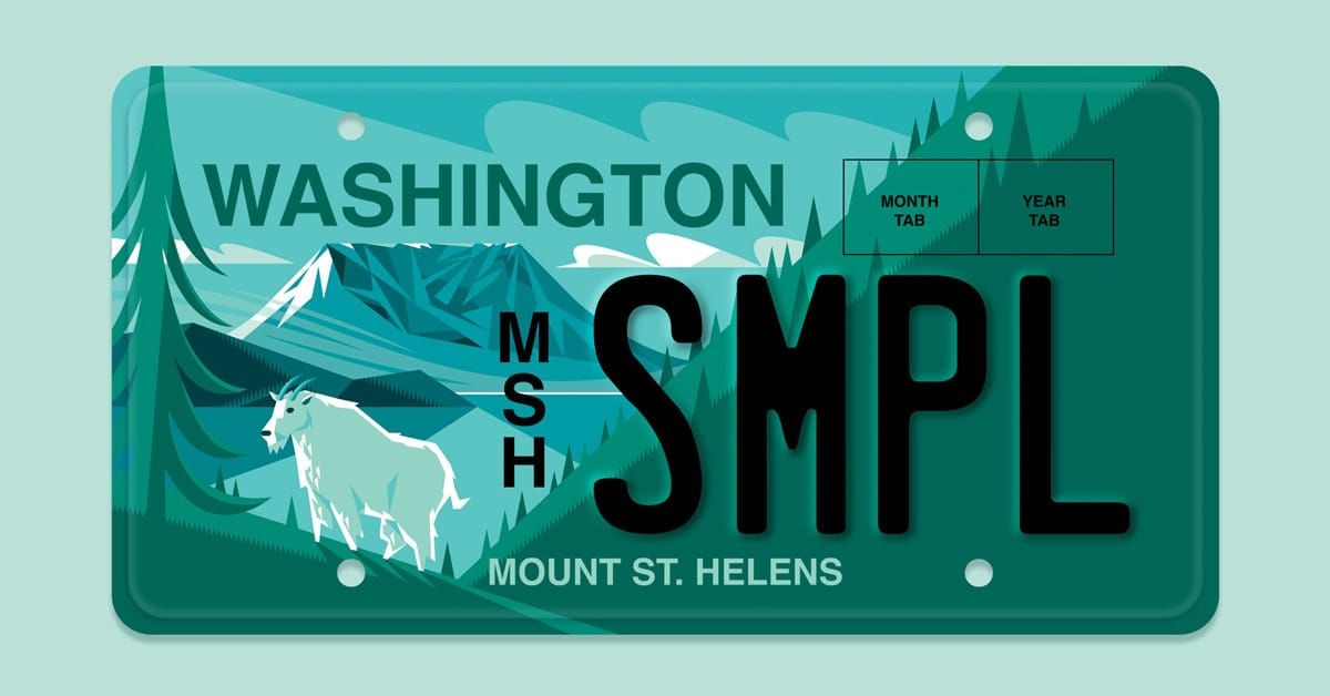 Mount St. Helens License Plate
