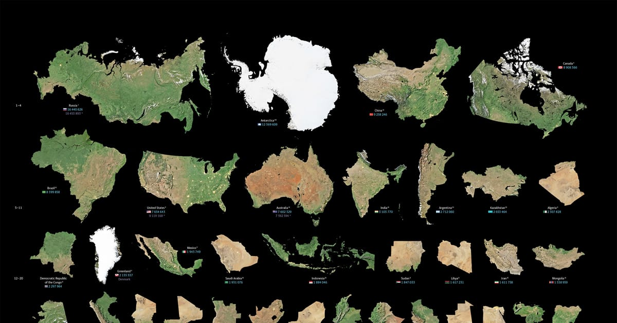 Countries ordered by surface area