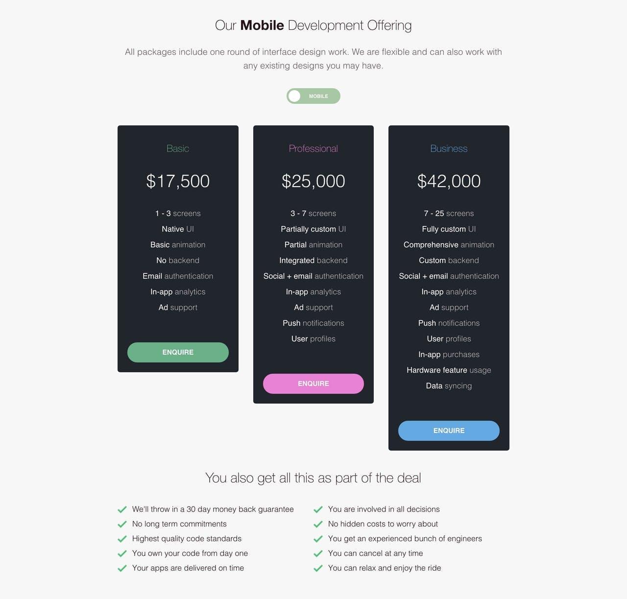 Pricing Table - Machine Republic Screenshot