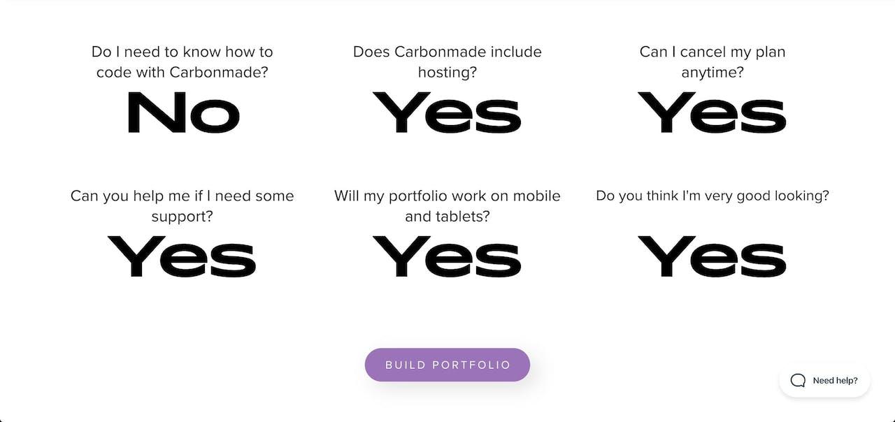 FAQ Section - Carbonmade Screenshot