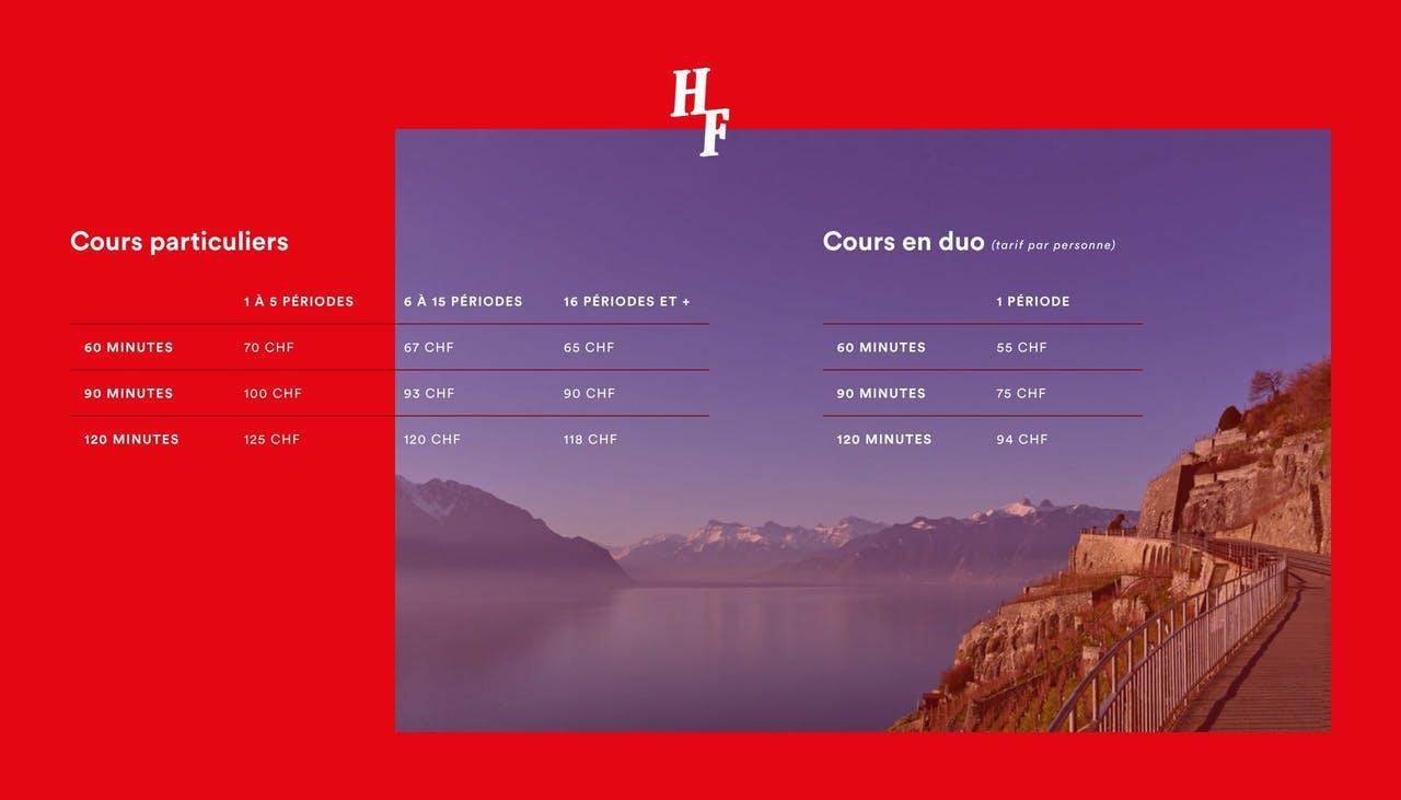 Pricing Table - Horizons Francophones Lausanne Screenshot