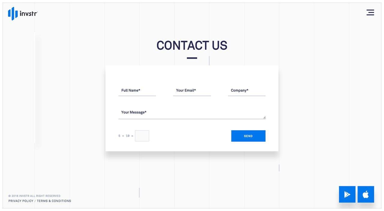 Contact Form - Invstr Screenshot