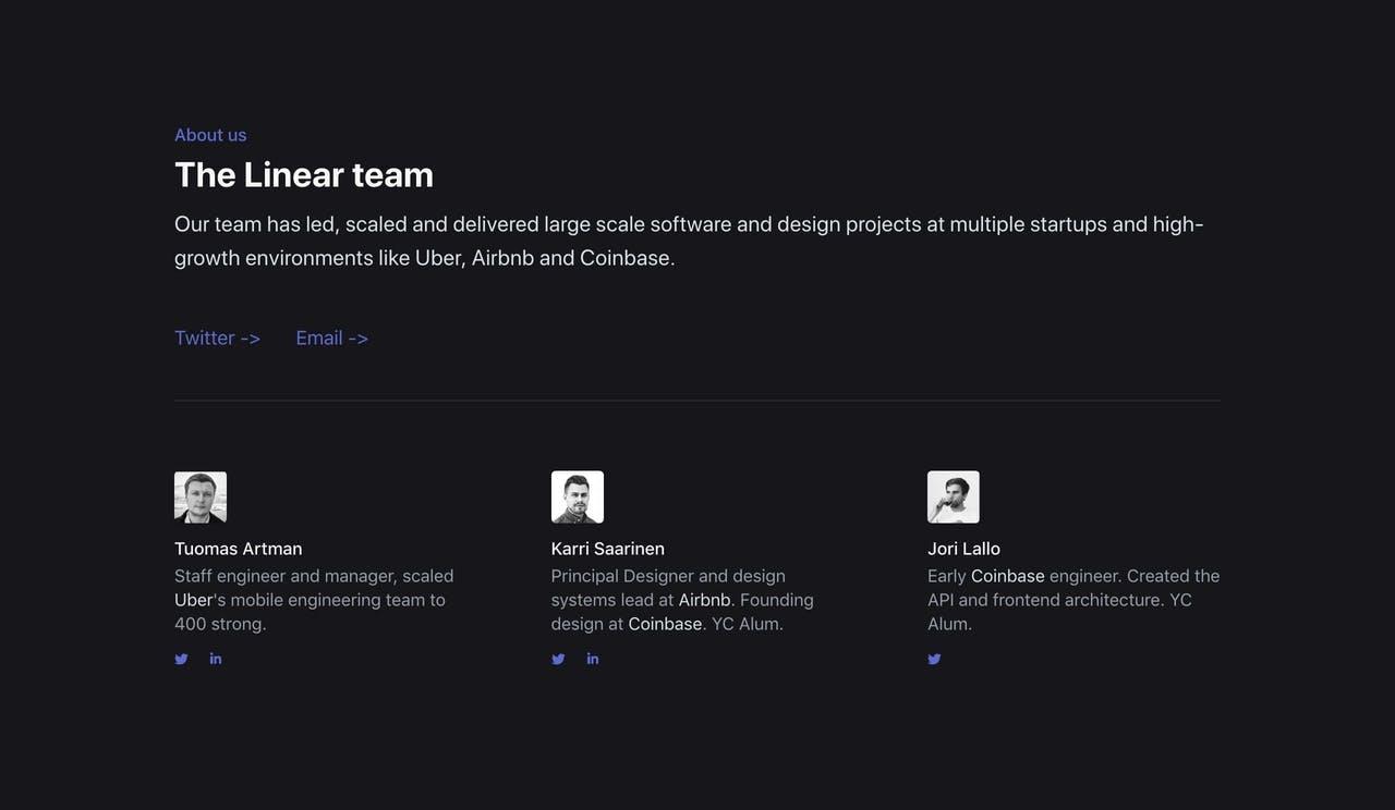 Team Section - Linear Screenshot