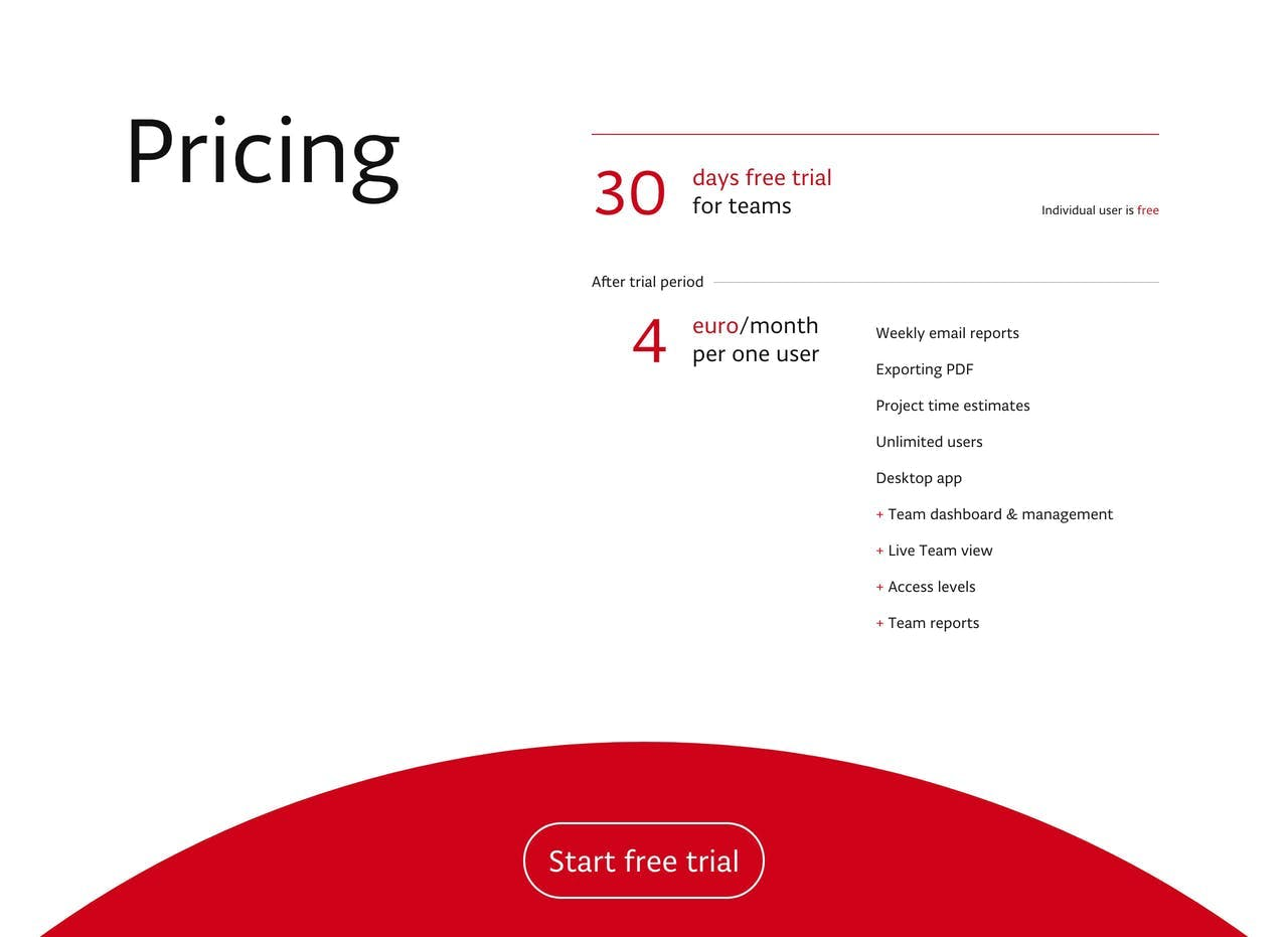 Pricing Table - Pulse.red Screenshot