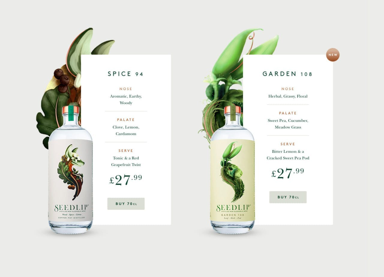 Pricing Table - Seedlip Screenshot