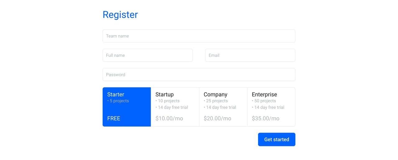 Pricing Table - Shrug Screenshot