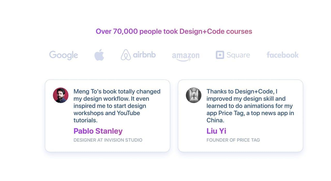 Testimonials - Design+Code Screenshot