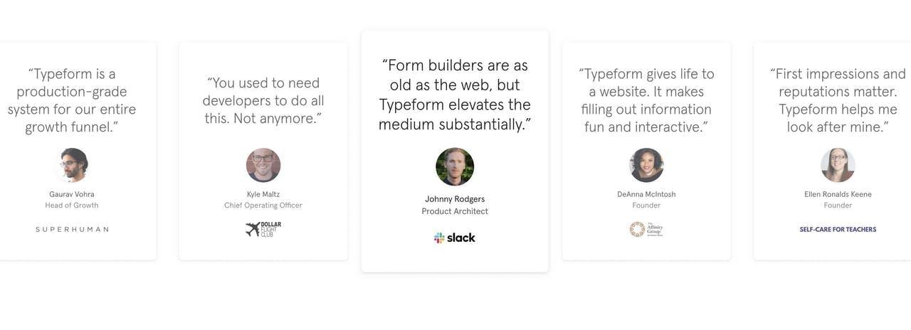 Testimonials with center focus - Typeform Screenshot