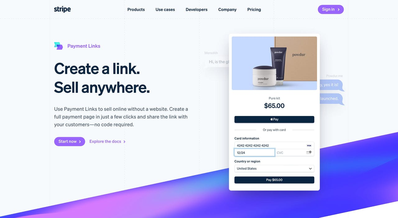 stripe.com/payments/payment-links Screenshot